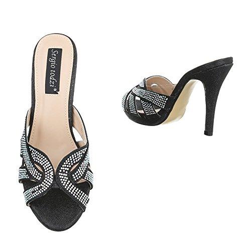 Ital-design Sandali Con Tacco Alto Scarpe Da Donna Plateau Penny / Tacco A Spillo Sandali Tacco Alto / Sandali Neri