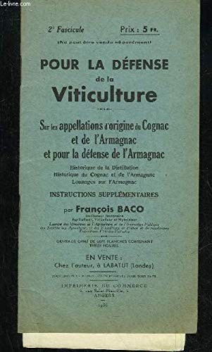 POUR LA DEFENSE DE LA VITICULTURE par BACO FRANCOIS