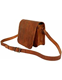 Anshika International Real Leather Crossbody Full Flap Messenger Bag For Boys & Girls Size L ( 11 ) H (9) W (3)