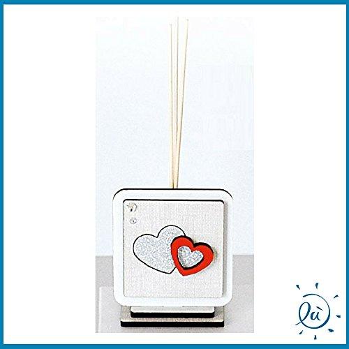 Profumatore per ambiente diffusore di odori con bastoncini in legno modello cuori misura 6x7 cm