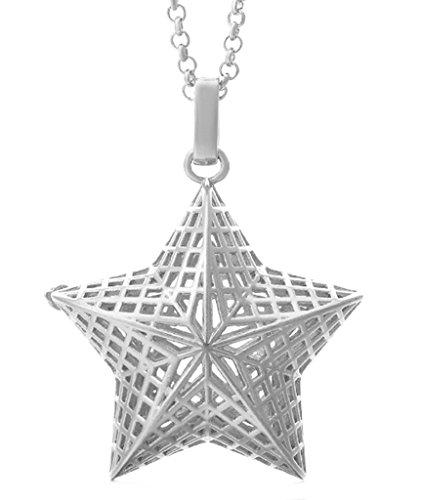 Epinki Schmuck, Damen Halskette Schwangere Glocke Baby-Glocke Hohl Blumen Muster Silber Gold (Ball nicht im Preis enthalten)