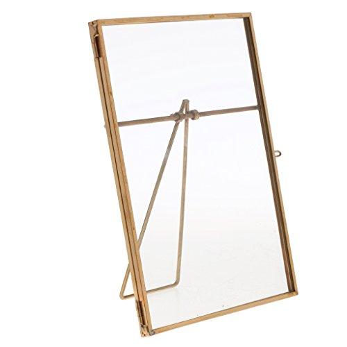 MagiDeal Tisch Bilderrahmen, Deko Fotorahmen, Metall Porträtrahmen, Quadrat Form, zum Aufstellen - Gold, 10x 15 cm