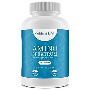 AMINO SPEKTRUM – 320 Tabletten vegan – Hochdosiert mit je 1000mg für 40 Tage – Komplex aus 18 Aminosäuren inkl. 8 EAA´s & BCAA – Laborgeprüft – Hergestellt in Deutschland ohne Magnesiumstearat