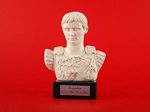 Augustus römische Kaiser Büste - Prima Porta Darstellung - Frorum Traiani - aus Alabastergips gefertigt - mit schwarzem Marmorsockel - incl. Messingschild