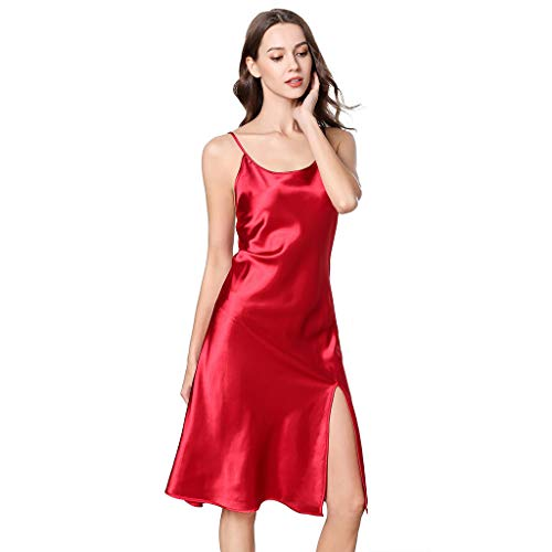 Bibao Damen Nachthemd, Seide, Satin, Beinschlitz, für den Sommer -