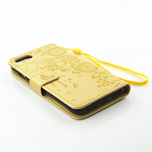 JIALUN-étui pour téléphone Avec Slot de carte, Lanyard, Embossed Fashion Open Cell Phone Shell pour Apple IPhone 7 ( Color : Gold , Size : IPhone 7 ) Gold