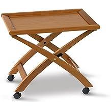 """Arredamenti Italia - Mesita BILLY, madera - Plegable - Bandeja extraíble - Color: madera de cerezo """"Ar-It il cuore del legno"""""""