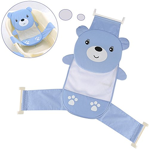 Yosoo Adjustable Thicken Newborn Baby Bath Seat Support Net Bathtub Sling Shower Mesh Bathing Cradle Rings For Tub (Blue Bear)