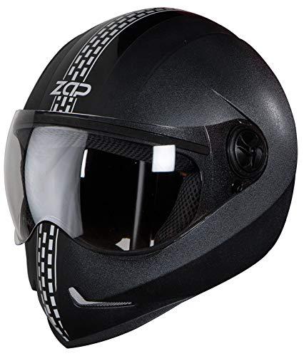 Steelbird SB-50 Adonis Zap Dashing Full Face Helmet Black with Silver (Large 600 MM, Plain Visor)