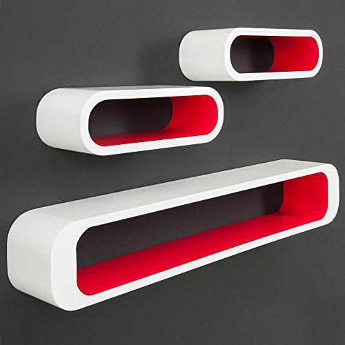 """3er Set Wandregal """"Cube"""" im Lounge-Retro-Stil mit unsichtbarer Aufhängung in Rot/Weiß"""