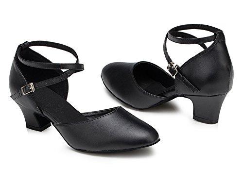 Minitoo L188- Scarpe da ballo, da donna, con nastro incrociato sul davanti, per balli latini e salsa, in pelle Black-5cm Heel