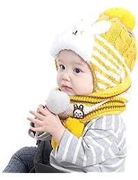 DOTBUY Enfants Bonnet Tricoté, Hiver Chaud Chapeau Écharpe Ensemble Épais  Tour De Cou avec Double 32760230475