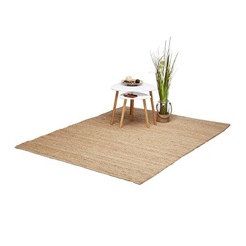 Relaxdays Jute Teppich, handgewebter Wohnzimmerteppich groß, robuster Webteppich in Braun, 160 x 230 cm, natur