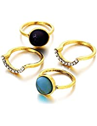 Young & Forever Trendsetter Gold Plated Dazzling Demeanor Turquoise Stone Midi Rings Cocktail Rings Set Of 4 For...