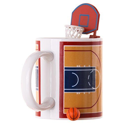 Mags Basketball Tasse mit Ball und Korb, Keramik, Braun, Weiß, 12cm, 303