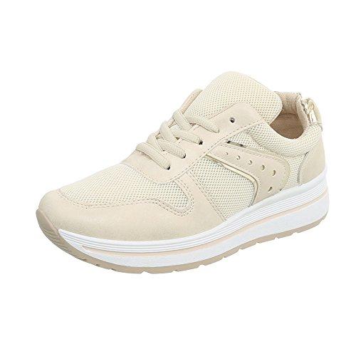 Ital-Design Sneakers Low Damen-Schuhe Schnürsenkel Freizeitschuhe Beige, Gr 38, Pp-24-