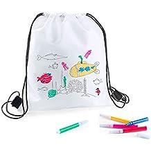 DISOK - Lote 20 Mochilas Petate Para Colorear - Regalos Cumpleaños, Comuniones, Colegios, Niños, Infantiles