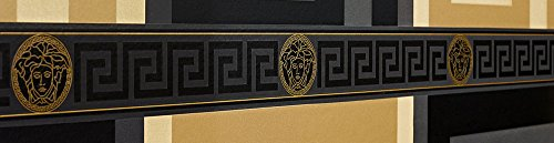 Price comparison product image Versace Wallpaper Border Black Gold Luxury Satin Modern Designer Greek Key
