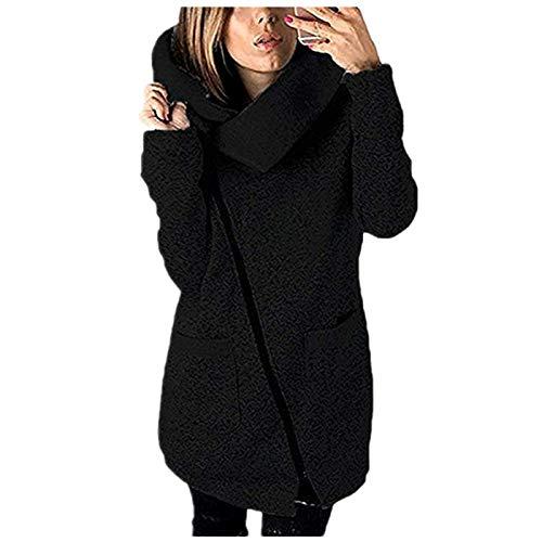 Beautyjourney cappotto donna cappuccio taglie forti invernale elegante lungo cappotti eleganti parka lunghi giacca donna elegante giacche giubbotto donna invernale trench donna lunga (nero, s)