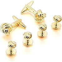 Kalendone Cuff Buttons Cufflinks Gold Love Knot Studs Set Tuxedo Sleeve Button Unique Cuff Links for Men