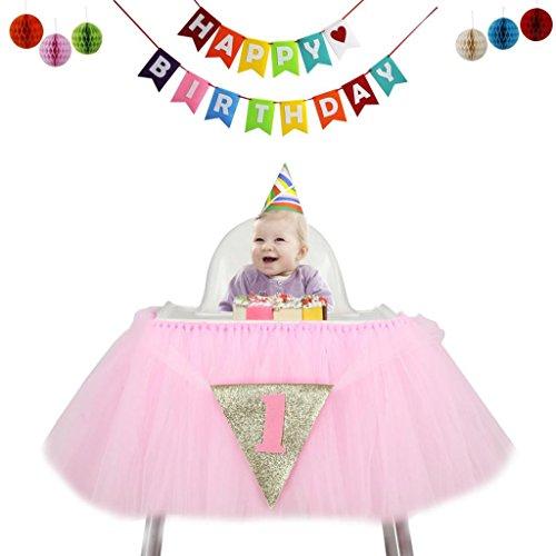 SunniMix Baby Hochstuhl Tutu Rock Tischdecke/Tischdeko Mit Tüll + Banner + Honeycomb Für Babyfeiern Geburtstag - ()