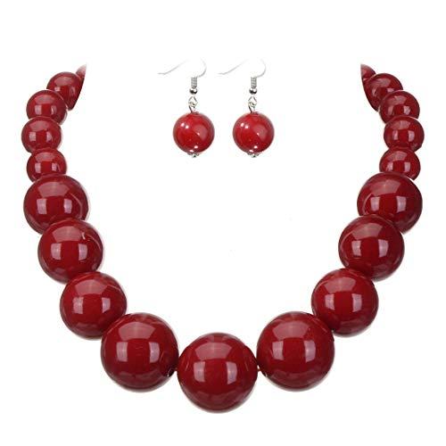 Jerollin Set Collana da Donna Girocollo con Orecchini Perle Rosso