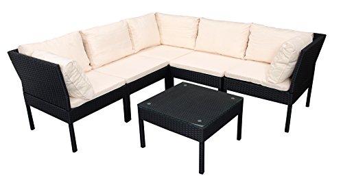 DEGAMO Loungeset CATANIA, Stahl + Polyrattan schwarz, Polster cremefarben