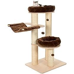 Stable arbre à chat naturel-Couleur Chocolat-Lavable en machine et coussins amovibles-Taille M-Convient pour les grandes races et les chats lourds-Chocolat