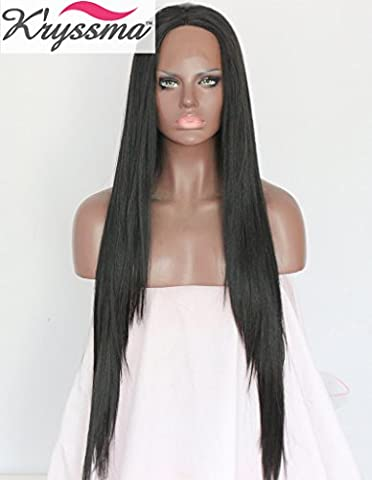 K'ryssma Natural Looking Long Silky Straight Black Wigs UK for Women Synthetic Lace Front Wig Layered Hair Half Hand Tied Heat Resistant Fiber 24