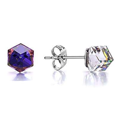 J.Fée Hypoallergenic Stud Earrings Square Color Change Earrings with SWAROVSKI Cube Crystals, Woman Fashion Crystal Earrings, Cubic Earring For Woman, Birthday Gifts