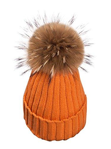Simplee apparel cappello di pelliccia cappellino invernale crochet knit fiocchetto bobble sci snowboard femminile