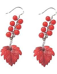 c3195fb3af9f Pendientes de plata de ley 925 con diseño de hoja de coral roja y perlas
