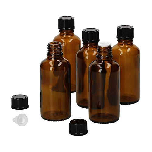 MamboCat 5tlg.-Set Miniaturflasche mit Tropfer I Braunglas 50 ml I kleine Apothekerfläschchen I Tropferflasche I UV-geschützte Medikamenten-Aufbewahrung