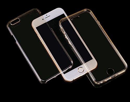 Minto Crystal TPU Full Body 360 ° Hülle iPhone 7 Plus Silikon Case Cover Etui Tasche - transparent Komplett Schutzhülle Gold -i7
