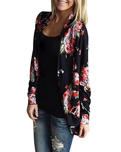 StyleDome Damen Kimono Langarm Lose Floral Dünne Coat Freizeit Trenchcoat Cardigan Schwarz XL (Floral Kimono Schwarz)