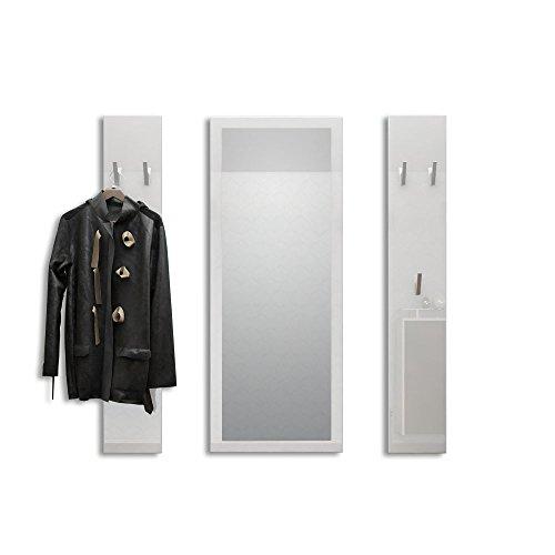 Vladon Garderobenset Garderobe Spot in Weiß Hochglanz