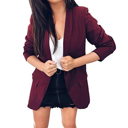 Sunnyuk Damen mäntel Jacket Blazers mit Wasserfall Schalkragen kurz Slim-fit jacken für Women mädchen Freizeit elegant Jackett fit Sommer frühling