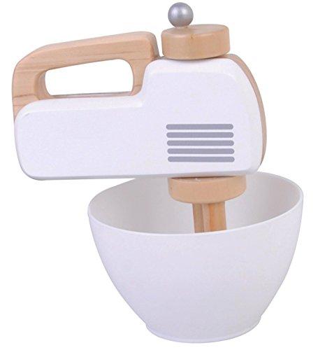 Spiel AG Mixer Handmixer aus Holz mit Rührschüssel mit Funktion weiß