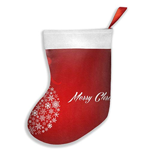 Voxpkrs White and Red Merry Christmas Snowflake Ball 20 18 Inch Weihnachtsstrumpfs Xmas Socks Ornament Themed Luxury Glam Trendy Creative Matching Fireplace - White Christmas Themed Kostüm