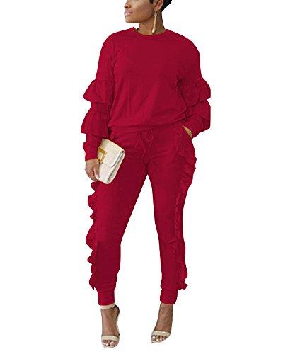 Femmes Casual Survêtements Ensembles évasé Manches Pull Sweat-shirt + Drawstring Volants Jogging Pantalons Survêtement 2 Pièces Vin rouge