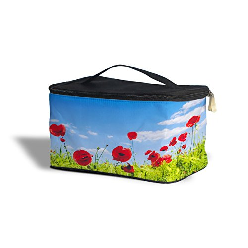 Red Poppies Field Cosmetics Storage Case de trousse maquillage cosmétique org aniser, Polyester, Yellow, One Size Cosmetics Storage Case