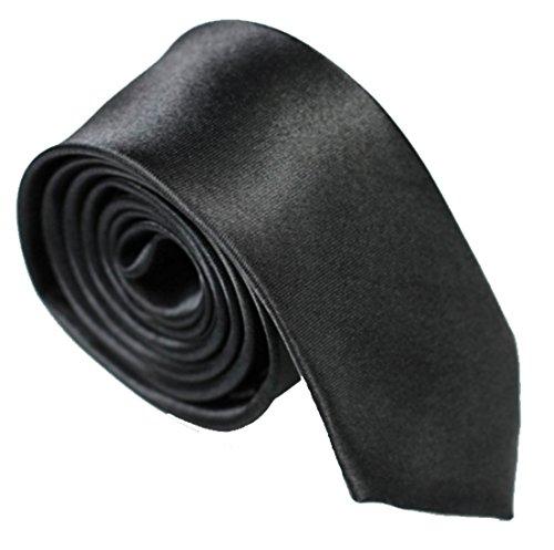 WS schmale dünne KRAWATTE Business Slim Tie Schlips schmal (schwarz)