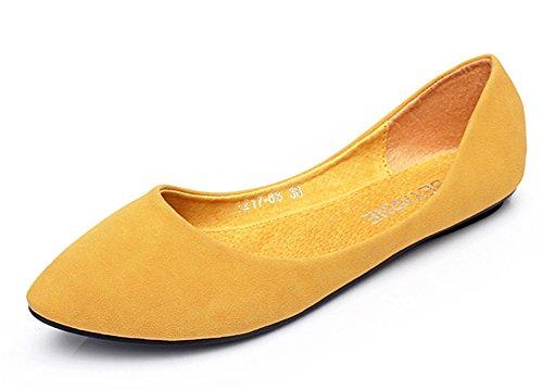 Aisun Damen Nubukleder Pointed Toe Low-Cut Flach Slipper Gelb