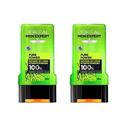 L'Oréal Men Expert Pure Power Lemon Duschgel, entfernt Unreinheiten und Schweiß regeneriert die Haut ohne auszutrocknen porentiefe Reinigung (2 x 300 ml)