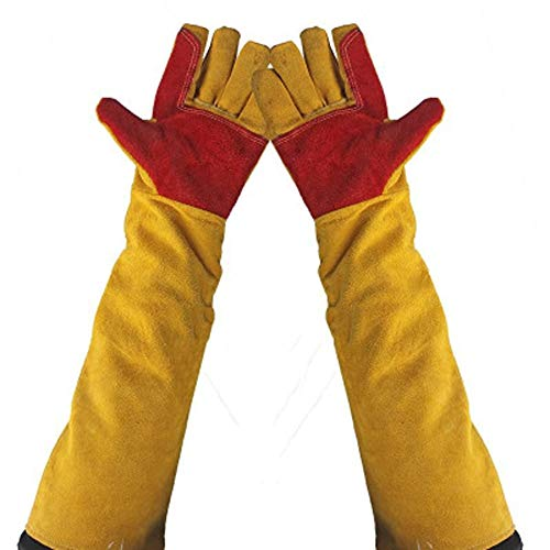 CZWYF Lange Ärmel Schweißen Schutzhandschuhe, Baumwollfutter und Kevlar-Nähte Schweißer Stulpen Holzbrenner Zubehör Handschuhe, hitzebeständiger Ofen Feuer- und Grillhandschuhe Lange Länge Manschetten -