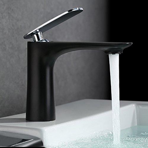 Tous Hot Copper Et Bassin d'eau froide Robinet Salle de bains Simple Pour robinet de bassin Taiwan Bathroom Faucet Round Basin Sink ( couleur : Noir )