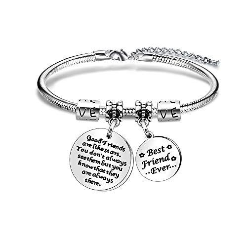 Imagen de pulsera de amistad de acero inoxidable con texto en inglés