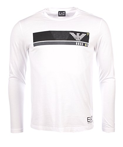 Armani Weiß Langarm (Emporio Armani EA7 Herren Men Langarmshirt T-Shirt Longsleeve Weiß White (XL))