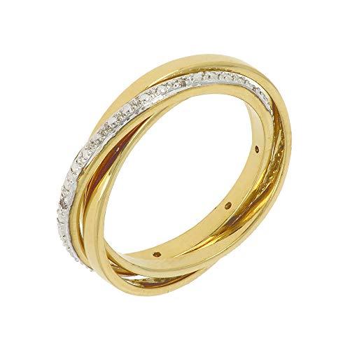 ISADY - Lilo Gold - Damen Ring - 18 Karat (750) Gelbgold - Zirkonium transparent - Dreierring Vorsteckring Ehering Trauring - T 60 (19.1)