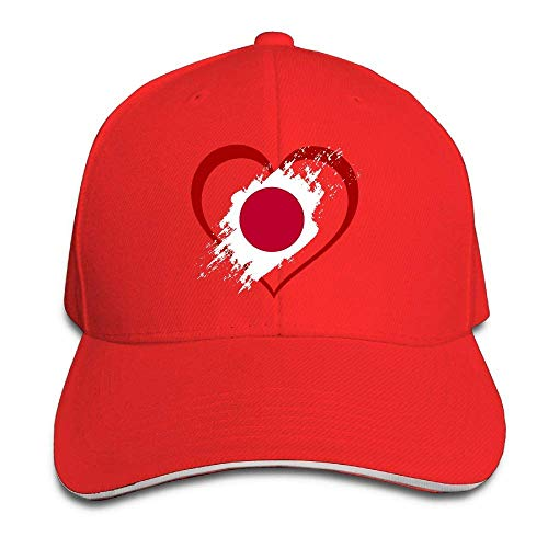 Presock Prämie Unisex Kappe Japan Flag Heart Shape Adult Adjustable Snapback Hats Sandwich Cap